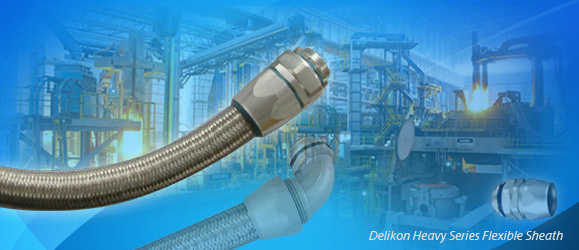 Delikon Heavy Series Flexible Sheath Over Braided Flexible Conduit and Fittings for steel mill power and data cable protection.Delikon EMI Shielding Heavy Series Over Braided Flexible Conduit and Heavy Series Conduit Connector protect Continuous Casting Machine electrical power and automation cables. Delikon heavy series over braided flexible conduit system is typically used for Vertical casters and Curved casters control cables, motor cables and sensor cables protection.