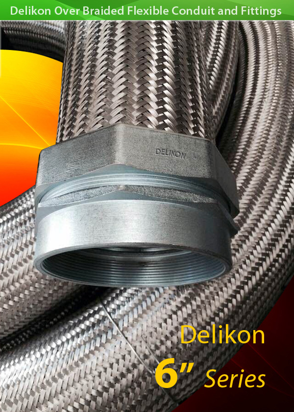 HIGH TEMPERATURE HEAVY SERIES over Braided Flexible Metal Conduit for iron mill cable retrofit