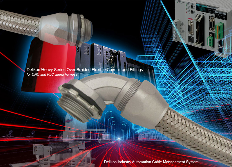 Delikon Heavy Series Over Braided Flexible Conduit and Connector for ...
