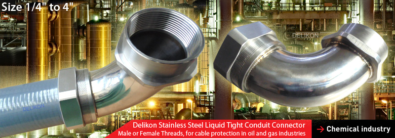Delikon 1/4 inch to 4 inches stainless steel liquid tigh connector resists corrosion and oxidation, with male or female threads, are relied upon by leading petrochemical organisations for protection of their electrical and data cables in Corrosion Environments.